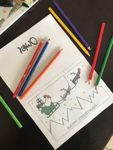 Christmas card colouring in
